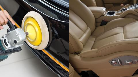Polishing paintwork and post-treatment car leather interior